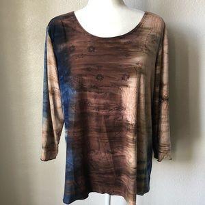 DressBarn Woman 3/4 Sleeve Tie Dye/Ombre Top